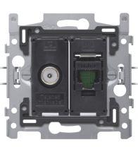 Niko - Sokkel data stopcontact coax + RJ45 utp CAT5E - 170-65158