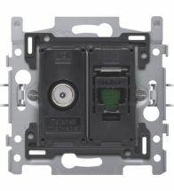 Niko - Socle prise data coax + RJ45 utp CAT6A - 170-65358