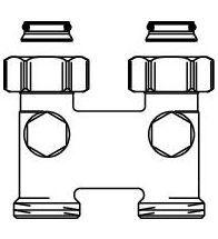 Oventrop - Omkeerstuk aanvoer & retour afstand 50mm 3/4 moer x 3/4 BU met afsluitfunctie