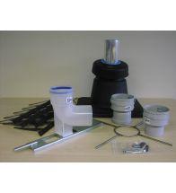 Isoleco - Set schoorsteenkap compleet 80mm+toebeh. met pp bocht + ondersteuning