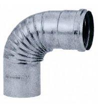 Burgerhout - Aluminium gasafvoer bocht 90 gr 130 mm