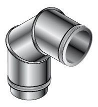 Isoleco - Dubbelw.inox afvoer 150 mm bocht 90 aisi 316L/304 - DP 624