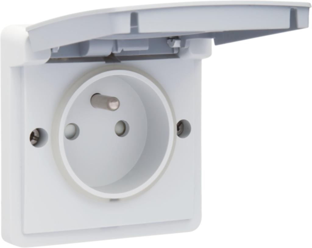 Niko - Hydro stopcontact + penaarde + kinderveiligheid grijs schroefklemmen - 700-36600