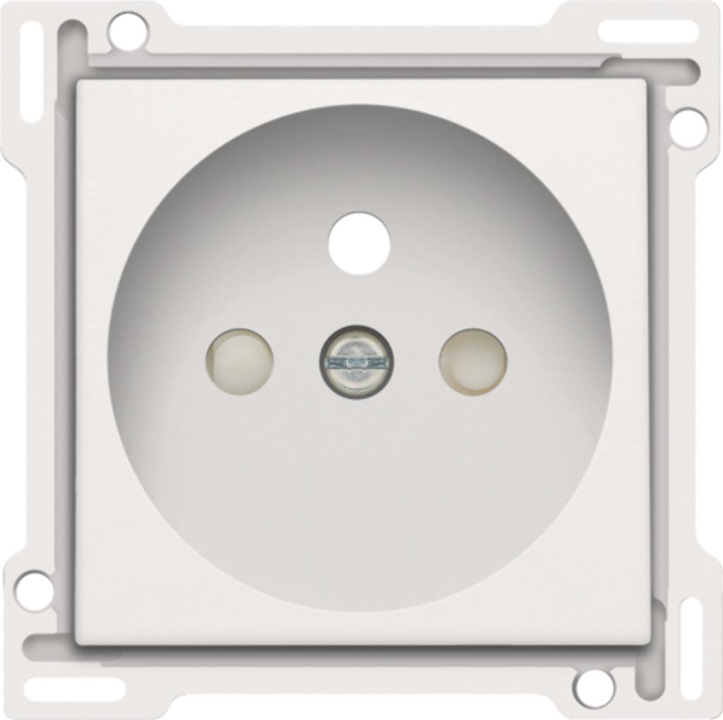 Niko - Centraalplaat stopcontact + penaarde + kinderveiligheid 28,5MM white - 101-66601