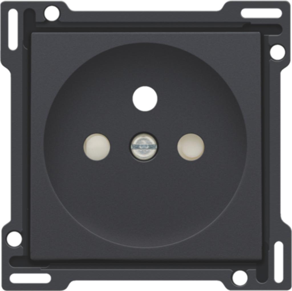 Niko - Centraalplaat stopcontact + penaarde + kinderveiligheid 28,5MM anthracite - 122-66601